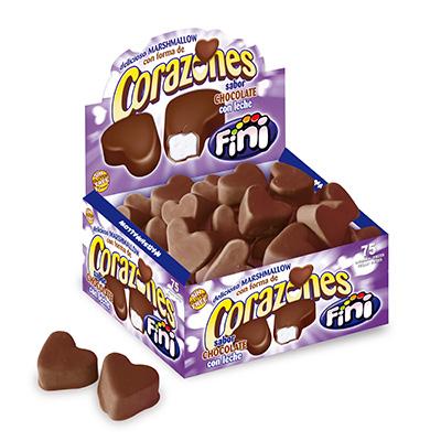 Corazones marshmallow chocolate con leche ESTUCHE 75u